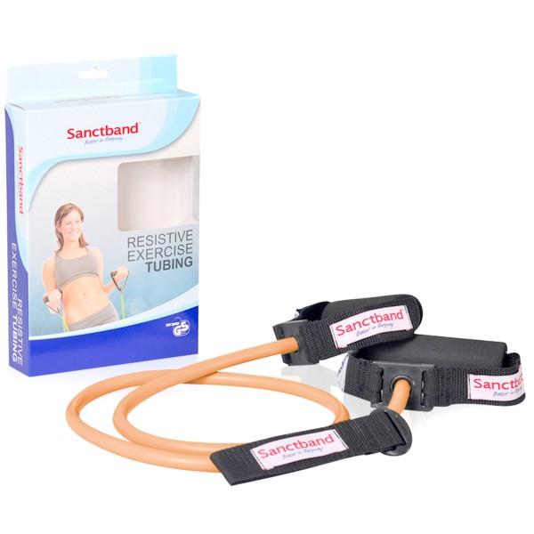 Sanctband Exercise Tubing mit Griffen - Pfirsich - extra leicht