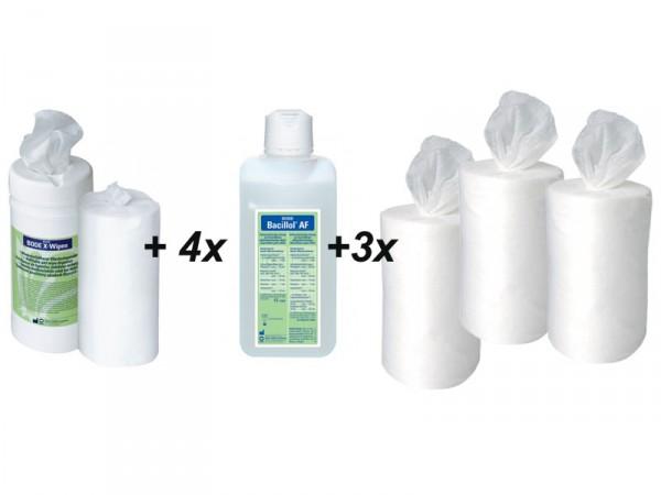 Bacillol Starterset mit 4 Bacillol AF, Spender und 4 Rollen X-Wipes